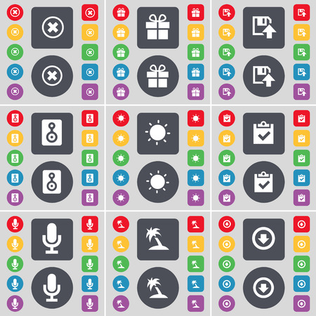 freccia giù: Stop, Gift, Floppy, Speaker, Light, Survey, Microwave, Palm, Arrow down icon symbol. A large set of flat, colored buttons for your design. Vector illustration