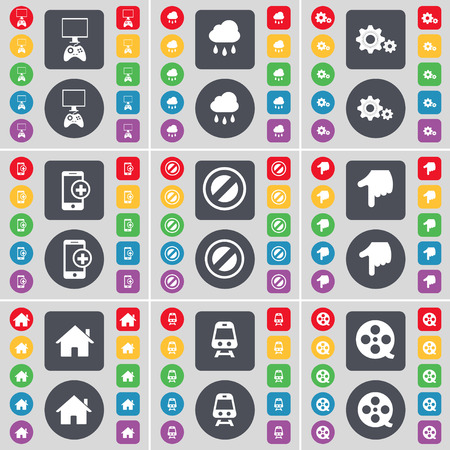 game console: Game console, Cloud, Gear, Smartphone, Stop, Hand, House, Train, Videotape icon symbol. A large set of flat, colored buttons for your design. Vector illustration Illustration