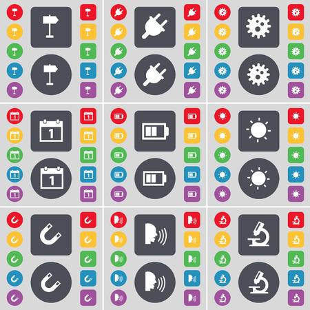 enchufe de luz: Signphone, Toma, Gear, Calendario, la batería, la luz, el imán, Talk, icono de microscopio símbolo. Un gran conjunto de planos botones, colores para su diseño. Ilustración vectorial Vectores