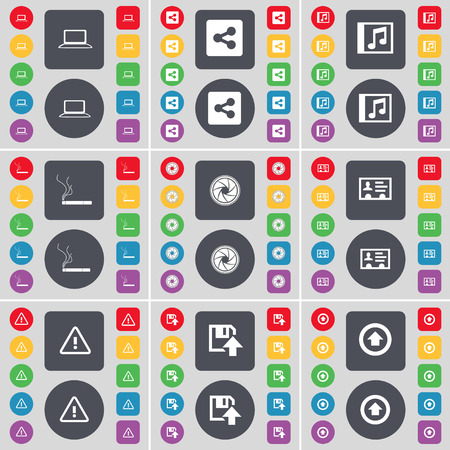 contact lens: Laptop, Share, Music window, Cigarette, Lens, Contact, Warning, Floppy, Arrow up icon symbol. A large set of flat, colored buttons for your design. Vector illustration