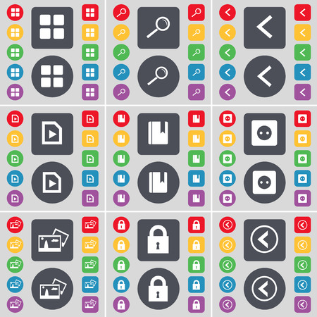 arrow left icon: Apps, Magnifying glass, Arrow left, File, Dictionary, Socket, Picture, Lock, Arrow left icon symbol. A large set of flat, colored buttons for your design. Vector illustration