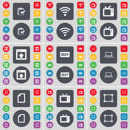 retro tv: Survey, Wi-Fi, Retro TV, Window, Buy, Laptop, File, Frame icon symbol. A large set of flat, colored buttons for your design. Vector illustration
