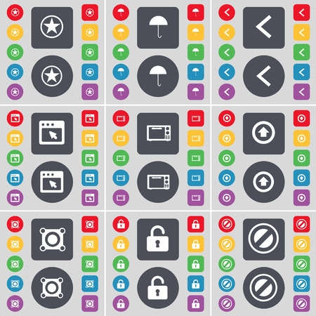 lock up: Star, Umbrella, Arrow left, Window, Microwave, Arrow up, Speaker, Lock, Stop icon symbol. A large set of flat, colored buttons for your design. Vector illustration
