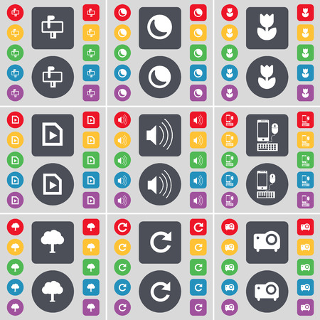moon flower: Mailbox, Moon, Flower, Media file, Sound, Smartphone, Tree, Reload, Projector icon symbol. A large set of flat, colored buttons for your design. Vector illustration Illustration