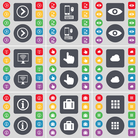 arrow right: Arrow right, Smartphone, Vision, Monitor, Hand, Cloud, Information, Suitcase, Apps icon symbol. A large set of flat, colored buttons for your design. Vector illustration