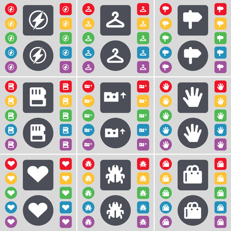 bugs shopping: Flash, Hanger, Signpost, SIM card, Cassette, Hand, Heart, Bug, Shopping bag icon symbol. A large set of flat, colored buttons for your design. Vector illustration Illustration