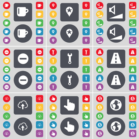 checkpoint: Cup, Checkpoint, Volume, Minus, Wrench, Road, Cloud, Hand, Earth icon symbol. A large set of flat, colored buttons for your design. Vector illustration