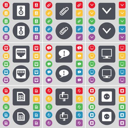 red lan: Altavoz, Clip, flecha abajo, conexi�n LAN, Chat burbuja, monitor, Archivo, Buz�n, icono Socket s�mbolo. Un gran conjunto de planos botones, colores para su dise�o. Ilustraci�n vectorial