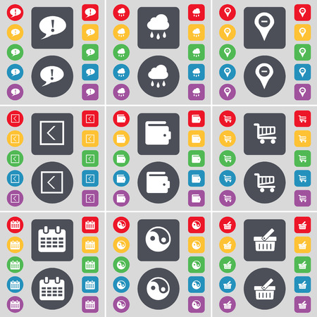 chat bubble: Chat bubble, Cloudd, Checkpoint, Arrow left, Wallet, Shopping cart, Calendar, Yin-Yang, Basket icon symbol. A large set of flat, colored buttons for your design. Vector illustration Illustration
