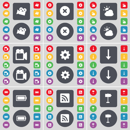 arrow down: Film camera, Stop, Cloud, Gear, Arrow down, Battery, RSS, Signpost icon symbol. A large set of flat, colored buttons for your design. Vector illustration