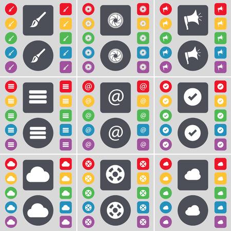 lens brush: Brush, Lens, Megaphone, Apps, Mail, Tick, Cloud, Videotape icon symbol. A large set of flat, colored buttons for your design. Vector illustration