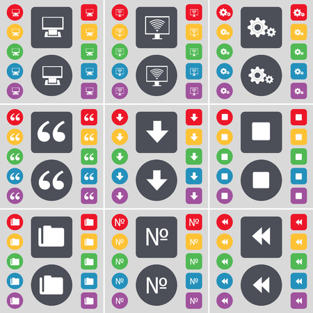 arrow down: Monitor, Gear, Quotation mark, Arrow down, Media stop, Folder, Number, Rewind icon symbol. A large set of flat, colored buttons for your design. Vector illustration Illustration
