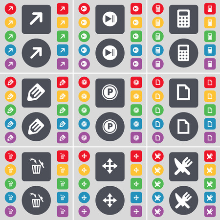 skip: Full screen, Media skip, Calculator, Pencil, Parking, File, Trash can, Moving, Fork and knife icon symbol. A large set of flat, colored buttons for your design. Vector illustration Illustration