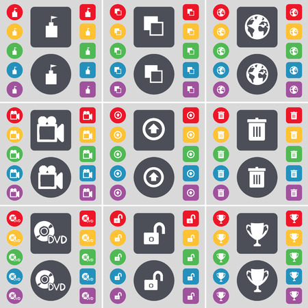 lock up: Flag tower, Copy, Earth, Film camera, Arrow up, Trash, DVD, Lock, Cup icon symbol. A large set of flat, colored buttons for your design. Vector illustration Illustration