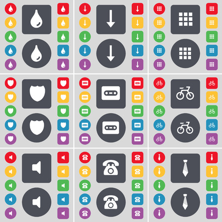 drop down: Drop, Arrow down, Apps, Badge, Cassette, Bicycle, Sound, Retro phone, Tie icon symbol. A large set of flat, colored buttons for your design. Vector illustration