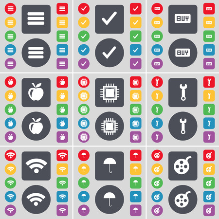 videotape: Apps, Tick, Buy, Apple, Processor, Wrench, Wi-Fi, Umbrella, Videotape icon symbol. A large set of flat, colored buttons for your design. Vector illustration