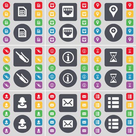 red lan: Archivo, conexi�n LAN, Checkpoint, conector de micr�fono, Informaci�n, Reloj de Arena, Avatar, mensaje, icono de la lista de s�mbolos. Un gran conjunto de planos botones, colores para su dise�o. Ilustraci�n vectorial Vectores