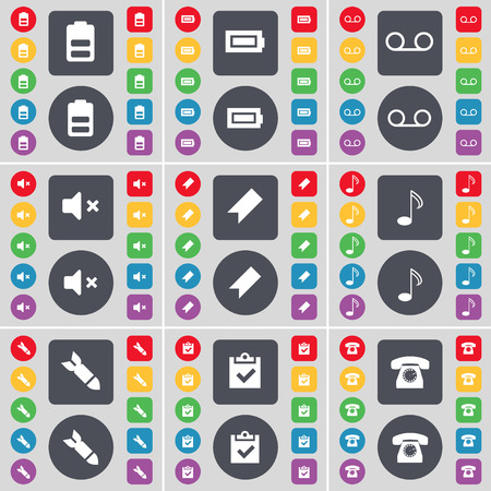 retro telefon: Battery, Cassette, Mute, Marker, Note, Rocket, Survey, Retro phone icon symbol. A large set of flat, colored buttons for your design. Vector illustration