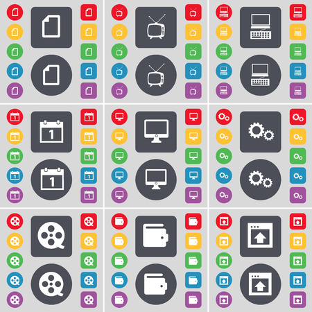 videotape: Fire, Retro TV, Laptop, Calendar, Monitor, Gear, Videotape, Wallet, Window icon symbol. A large set of flat, colored buttons for your design. Vector illustration