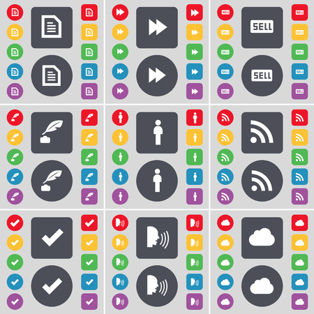 ink pot: Text file, Rewind, Sell, Ink pot, Silhouette, RSS, Tick, Talk, Cloud icon symbol. A large set of flat, colored buttons for your design. Vector illustration Illustration