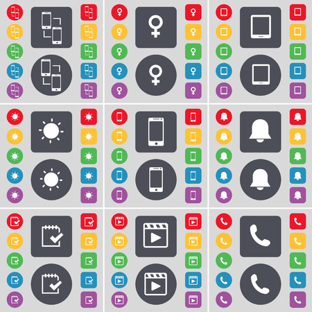 venus symbol: Information exchange, Venus symbol, Tablet PC, Light, Smartphone, Notification, Survey, Media player, Receiver icon symbol. A large set of flat, colored buttons for your design. Vector illustration