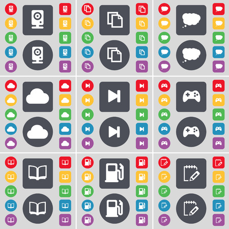 skip: Speaker, Copy, Chat cloud, Cloud, Media skip, Gamepad, Book, Gas station, Notebook icon symbol. A large set of flat, colored buttons for your design. Vector illustration