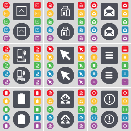 exclamation icon: Arrow up, Packing, Message, Smartphone, Cursor, Apps, Battery, Avatar, Exclamation icon symbol. A large set of flat, colored buttons for your design. Vector illustration