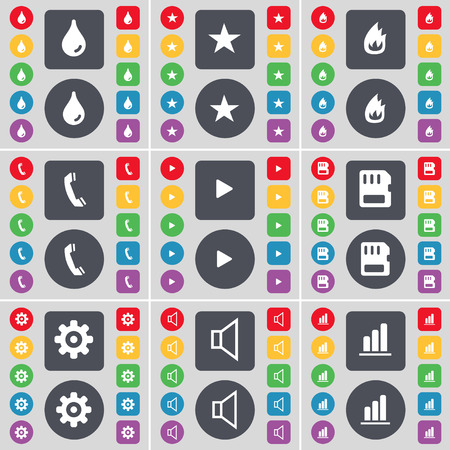 sound card: Drop, Star, Fire, Receiver, Media play, SIM card, Gear, Sound, Diagram icon symbol. A large set of flat, colored buttons for your design. Vector illustration