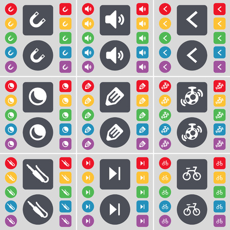 skip: Magnet, Sound, Arrow left, Moon, Pencil, Speaker, Microphone connector, Media skip, Bicycle icon symbol. A large set of flat, colored buttons for your design. Vector illustration