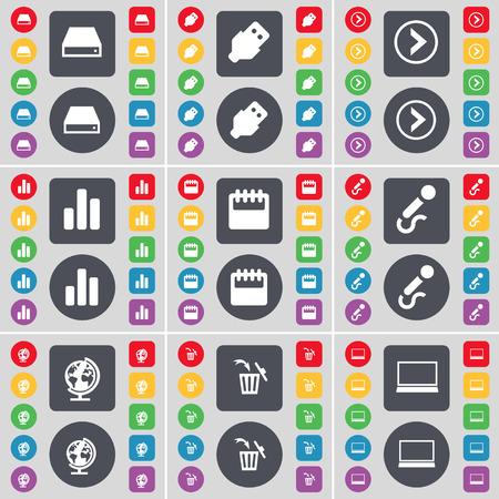 arrow right: Hard disk, USB, Freccia destra, Diagramma, Calendario, Microfono, Globo terrestre, Pattumiera, laptop icona simbolo. Un grande insieme di piatti, pulsanti colorati per il vostro disegno. Illustrazione vettoriale Vettoriali