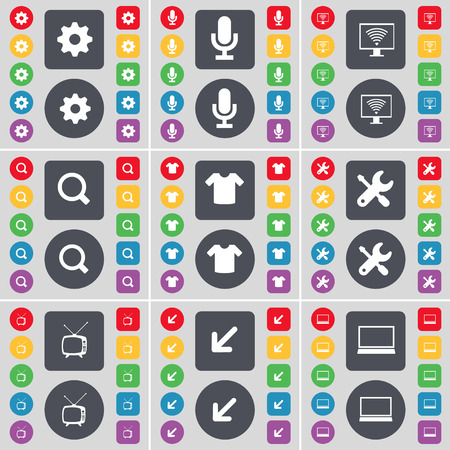 flat screen tv: Gear, Microphone, Monitor, Magnifying glass, T-Shirt, Wrench, Retro TV, Deploying screen, Laptop icon symbol. A large set of flat, colored buttons for your design. Vector illustration