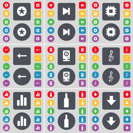 arrow down: Star, Media skip, Processor, Arrow left, Speaker, Clef, Diagram, Bottle, Arrow down icon symbol. A large set of flat, colored buttons for your design. Vector illustration