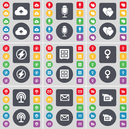 bedtable: Cloud, Microphone, Heart, Flash, Bed-table, Venus symbol, Wi-Fi, Message, Film camera icon symbol. A large set of flat, colored buttons for your design. Vector illustration Illustration