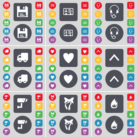 herz mit pfeil: Floppy, Contact, Headphones, Truck, Heart, Arrow up, CCTV, Bow, Fire icon symbol. A large set of flat, colored buttons for your design. Vector illustration Illustration