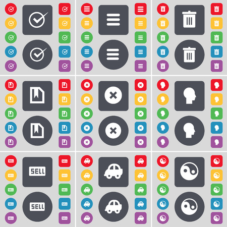 sell car: Tick, Apps, Trash can, File, Stop, Silhouette, Sell, Car, Yin-Yang icon symbol. A large set of flat, colored buttons for your design. Vector illustration