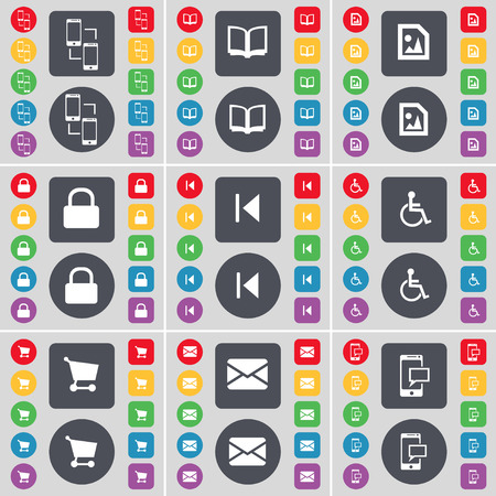 disabled person: Smartphone, Book, Media file, Lock, Media skip, Disabled person, Shopping cart, Message, SMS icon symbol. A large set of flat, colored buttons for your design. Vector illustration