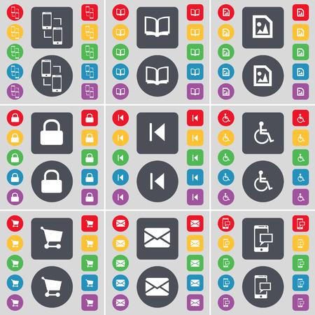 personne handicap�e: Smartphone, livre, fichier multim�dia, Lock, m�dias sauter, handicap�s, Panier, Message, symbole de l'ic�ne SMS. Un vaste ensemble de plats, des boutons de couleur pour votre conception. Vector illustration
