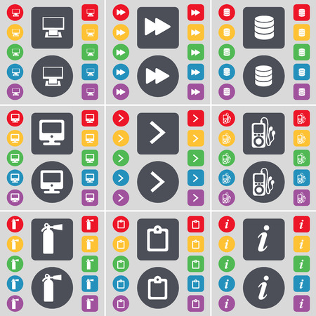 mp3 player: Monitor, Rewind, Database, Monitor, Arrow right, MP3 player, Fire extinguisher, Survey, Information icon symbol. A large set of flat, colored buttons for your design. Vector illustration Illustration