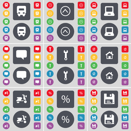 chat up: Truck, Arrow up, Laptop, Chat bubble, Wrench,  House, Scooter, Percent, Floppy icon symbol. A large set of flat, colored buttons for your design. Vector illustration Illustration