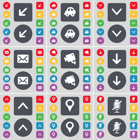 arrow down: Deploying screen, Car, Arrow down, Message, CCTV, Arrow up, Checkpoint, Microphone icon symbol. A large set of flat, colored buttons for your design. Vector illustration Illustration