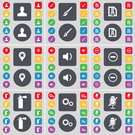 fire extinguisher symbol: Avatar, Brush, ZIP card, Checkpoint, Sound, Minus, Fire extinguisher, Gear, Microphone icon symbol. A large set of flat, colored buttons for your design. Vector illustration