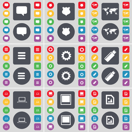 chat window: Chat bubble, Police badge, Globe, Apps, Gear, USB, Laptop, Window, Media file icon symbol. A large set of flat, colored buttons for your design. Vector illustration Illustration