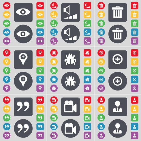 checkpoint: Vision, Volume, Trash can, Checkpoint, Bug, Plus, Quotation mark, Film camera, Avatar icon symbol. A large set of flat, colored buttons for your design. Vector illustration