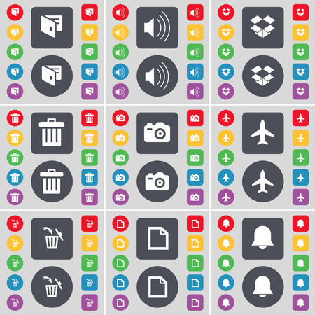 dropbox: Wallet, Sound, Dropbox, Trash can, Camera, Airplane, Trash can, File, Notification icon symbol. A large set of flat, colored buttons for your design. Vector illustration