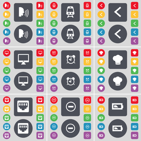 lan: Talk, Train, Arrow left, Monitor, Alarm clock, Cooking hat, LAN socket, Minus, Battery icon symbol. A large set of flat, colored buttons for your design. Vector illustration