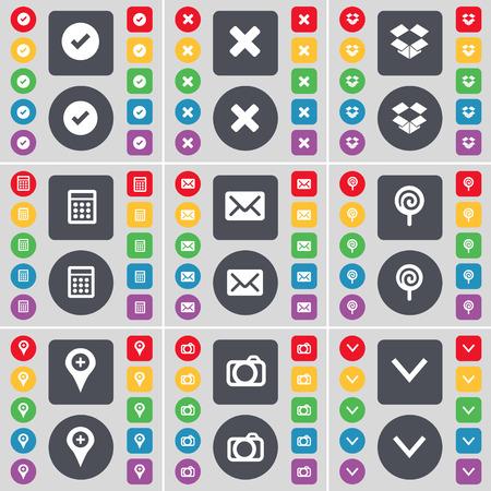 freccia giù: Tick, Stop, Dropbox, Calcolatrice, Messaggio, Lecca-lecca, Checkpoint, macchina fotografica, Freccia gi� icona simbolo. Un grande insieme di piatti, pulsanti colorati per il vostro disegno. Illustrazione vettoriale