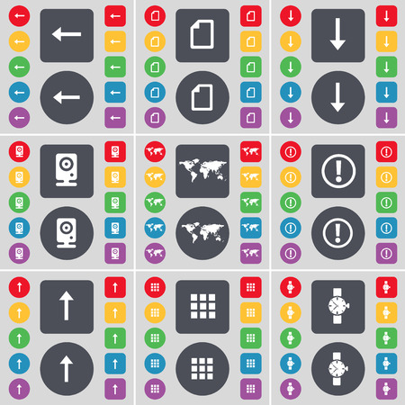 arrow down: Arrow left, File, Arrow down, Speaker, Globe, Warning, Arrow up, Apps, Wrist watch icon symbol. A large set of flat, colored buttons for your design. Vector illustration