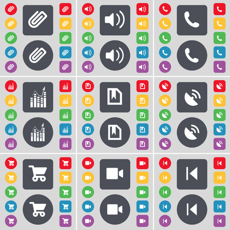 skip: Clip, Sound, Receiver, Graph, File, Satellite dish, Shopping cart, Film camera, Media skip icon symbol. A large set of flat, colored buttons for your design. Vector illustration