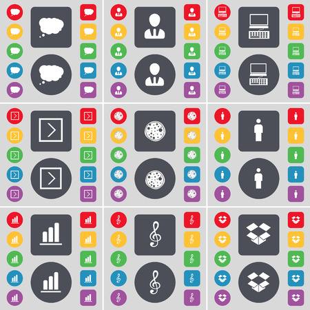 dropbox: Chat cloud, Avatar, Laptop, Arrow right, Pizza, Silhouette, Diagram, Clef, Dropbox icon symbol. A large set of flat, colored buttons for your design. Vector illustration