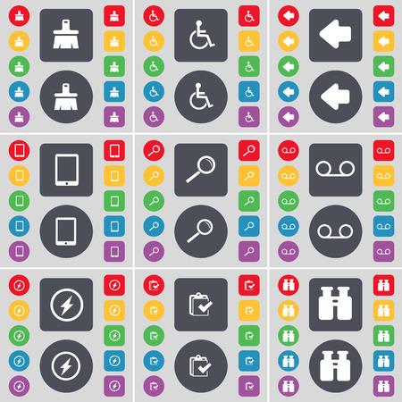 personne handicap�e: Brosse, handicap�s, fl�che gauche, Tablet PC, loupe, Cassette, Flash, Enqu�te, Jumelles symbole de l'ic�ne. Un vaste ensemble de plats, des boutons de couleur pour votre conception. Vector illustration